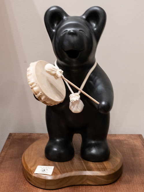Extra Large Black Bear with Drum by Randy Chitto