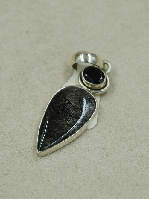Sterling Silver Ruttile Black Spinel Pendant by Sanchi & Filia