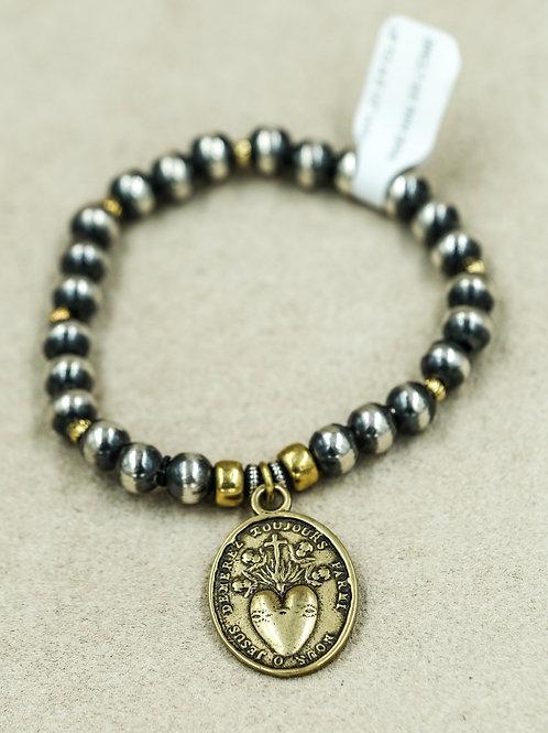 Sterling Silver 7MM w/ Bronze Sacred Heart Bracelet Shoofly 505
