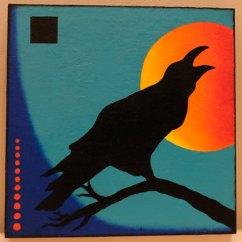 """Moon Song"" Raven 12"" x 12"" Acrylic on Board by Marilynn Jennings"