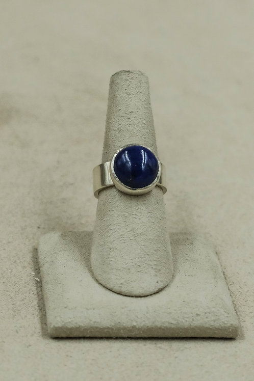 Round Lapis and Sterling Silver 6.25x Ring by John Paul Rangel