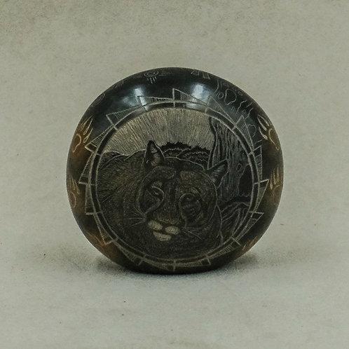 Sgraffito Mountain Lion Round Solid
