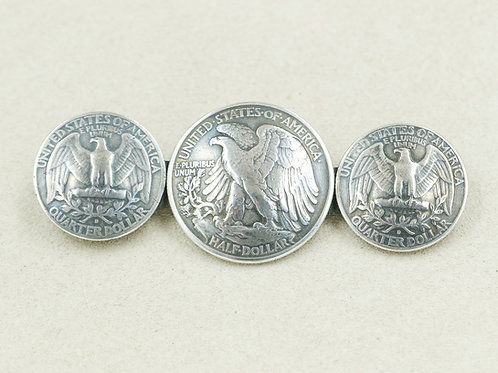 Sterling Silver w/ 2 Quarters & 1 Half Dollar Pin by Maggie Moser
