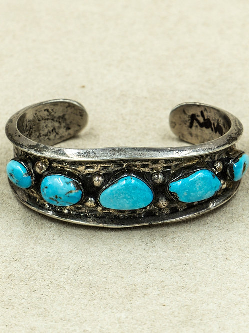 Vintage 5 Stone Blue Turquoise Cuff