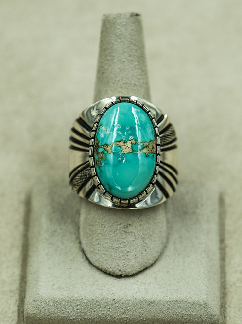 Sterling Silver w/ Natural Blue Turquoise 13.75x Ring by Leonard Nez