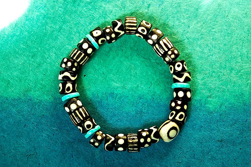 Black and White African Bone Beads with Turquoise Beads Bracelet