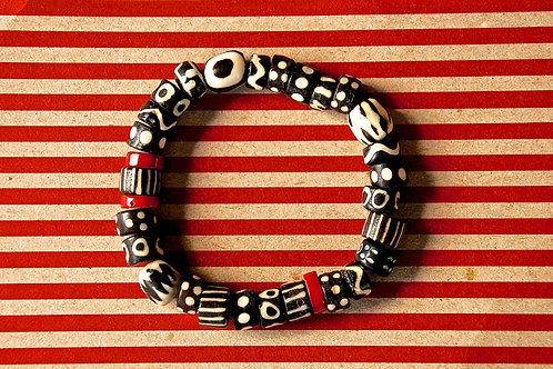 Black and White African Bone Beads, with Red Coral Beaded Bracelet