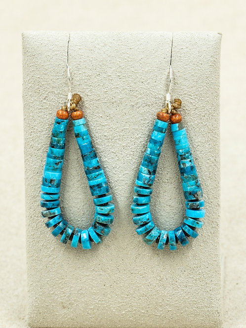 Sterling Silver w/ Blue Kingman Turquoise & Coral Earrings by Kenneth Aguilar