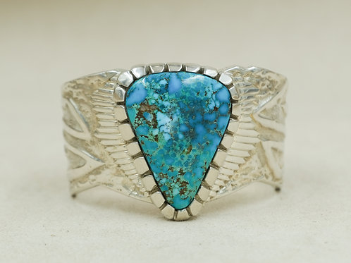 Sterling Silver Heavy Tufa w/ Large Kingman Natural Turquoise Cuff by JP Arviso