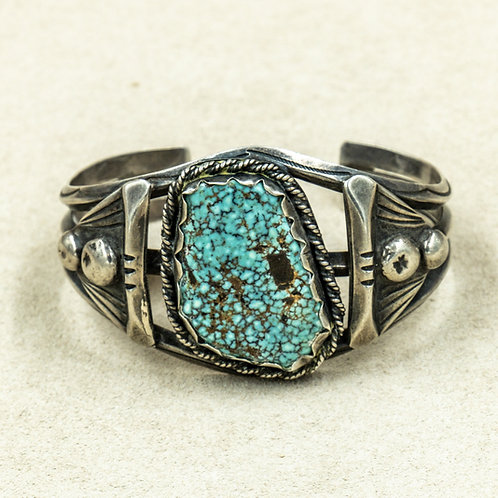 Vintage 50's-70's Sterling Silver w/ Old Natural Green #8 Turquoise Cuff
