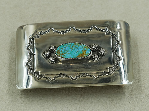 Sterling Silver w/ Pilot Mountain Turquoise Belt Buckle