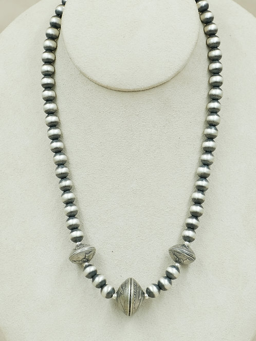 Sterling Silver Oxidized 8mm w/ 3 Coin Bead Necklace by Maggie Moser