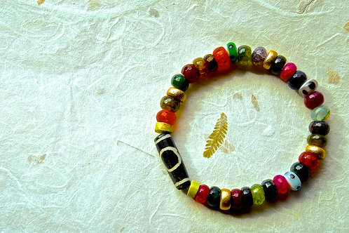 Multi-Color Rondelle Agate Gemstone Beads Bracelet
