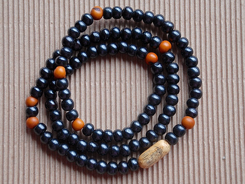 Black Yak Bone Beads with Acai and Etched Bead