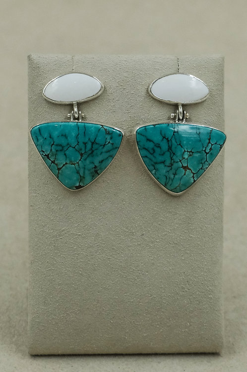 Sterling Silver Chinese Turquoise & White Chalcedony Earrings by Dave M Romero