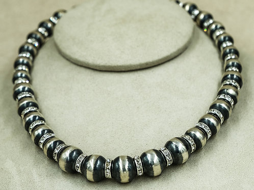 SS Oxidized 14mm w/ Large Cubic Zirconia Rondelles by Shoofly 505