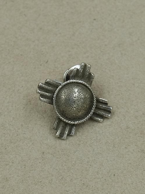 Sterling Silver Oxidized Dome Zia Pin by Gregory Segura