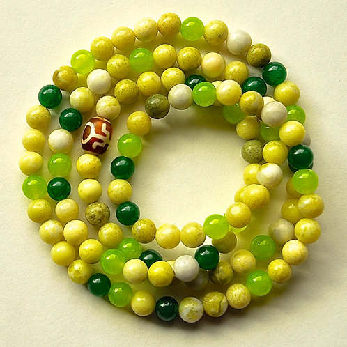 Mixed Green Jade Beaded Mala