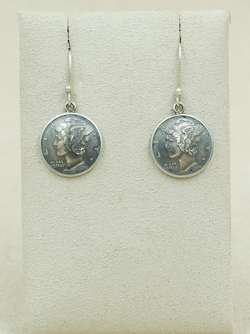 Sterling Silver Curved Mercury Dime Earrings by Maggie Moser