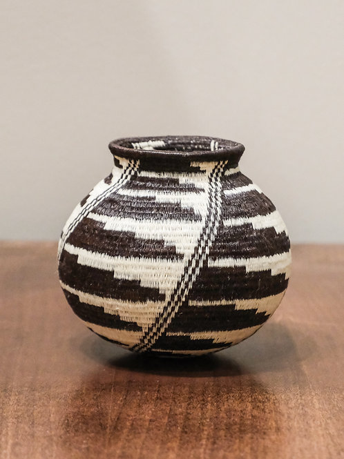 Lined Black Feather Wounaan Basket