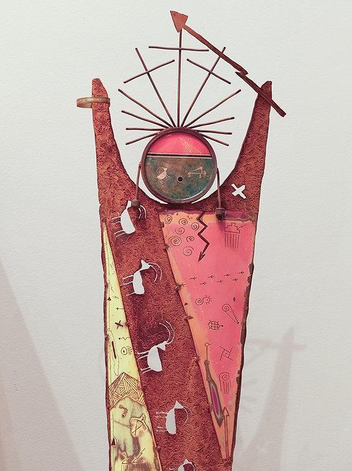 """Story Totem - Sky Dancer - Looking Back"" Mixed Metal Sculpture by Chris Turri"