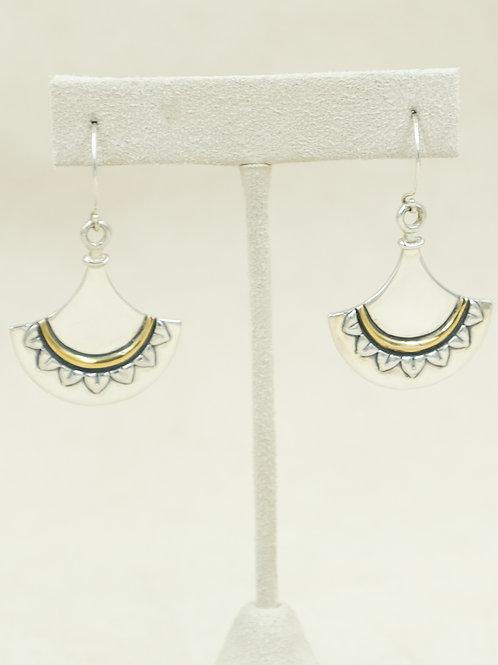 Sterling Silver w/ 18k Egyptian Fan Earrings by Roulette 18