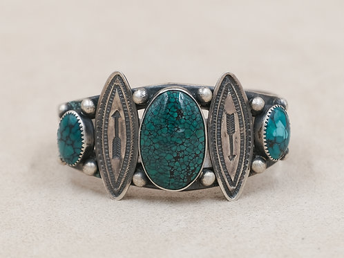 SS w/ 3 Blue Spiderweb Center TQ Stones & Arrowhead Spacers Cuff by Mike French