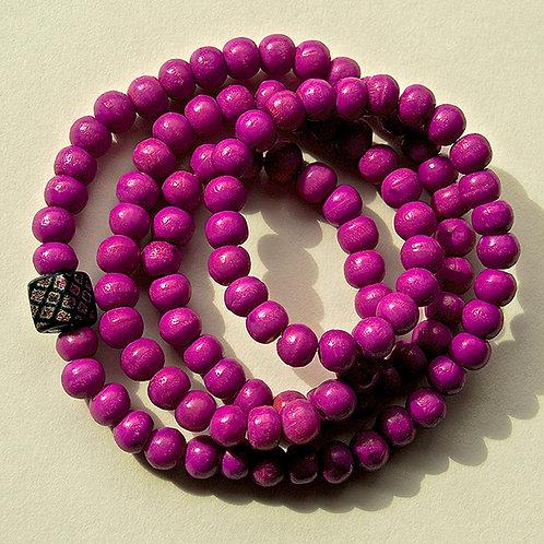Purple Bone Beads w/ Handmade Dichroic Purple and Golden Cube Accent Bead Mala