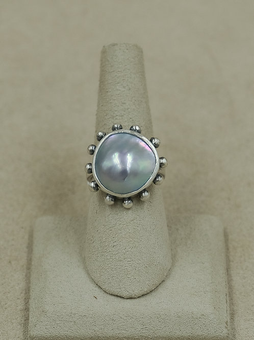 Sterling Silver Cortez Pearl 7x Ring by Michele McMillan