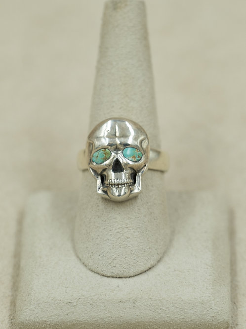 Sterling Silver Skull w/ Turquoise Eyes 8x Ring by John Rippel