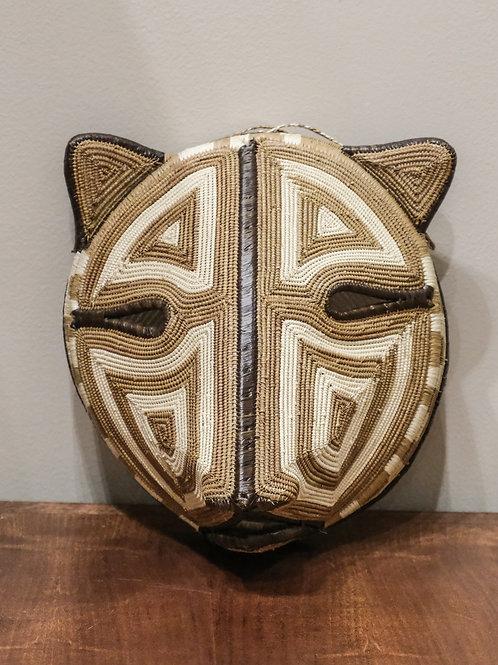 "Tan & Cream Jaguar Emberá Mask by Eloidita Chami - 10"" W x 9"" H"