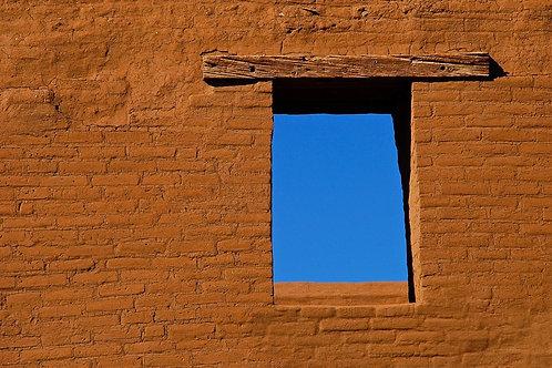 New Mexico sapphire sky through window -   Pecos National Monument, New Mexico