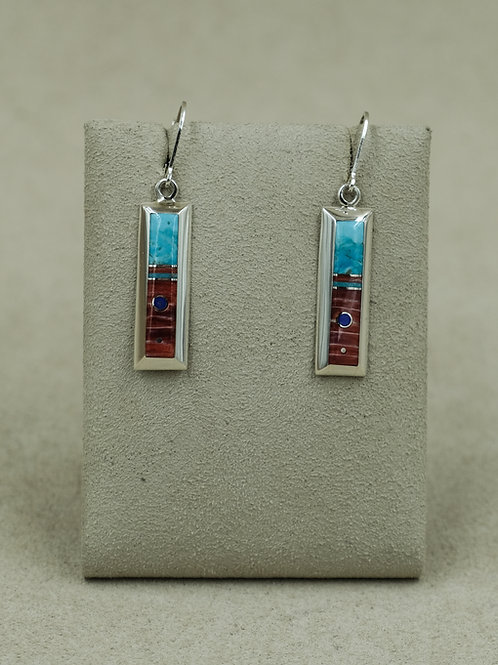 SS Rectangle Turquoise, Spiny Oyster & Lapis Wire Earrings by Veronica Benally