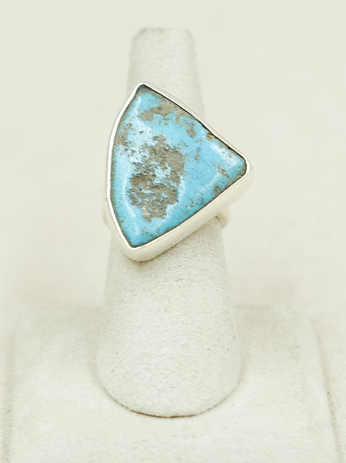 Sterling Silver Natural Kingman Turquoise 6x Ring by Robert Mac Eustace Jones