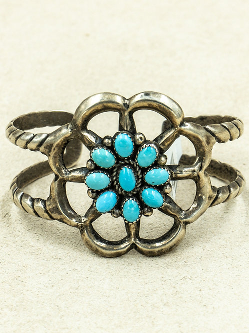 Vintage 70's Sandcast w/ Cluster 9 Blue Turquoise Stones Cuff