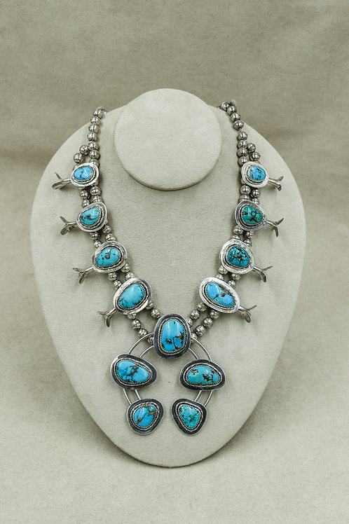 Vintage 60's/70's SS Squash Blossom Necklace w/Natural Morenci/Kingman Turquoise