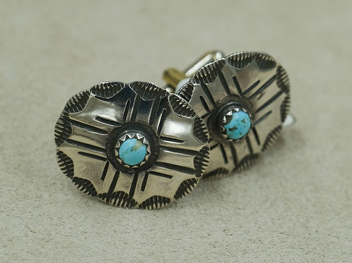 Sterling Silver Round Stamped Mercury Dimes w/ Turquoise Cufflinks