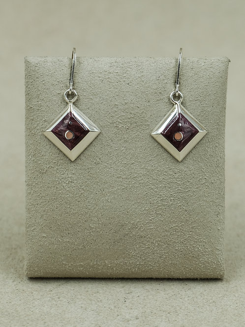 SS Diamond-Shaped Purple Spiny Oyster & Pink Coral Earrings by Veronica Benally