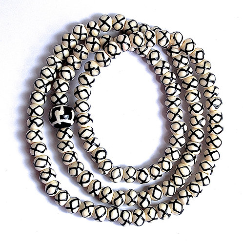 Hand-painted Infinity Circles on Natural Cow Bone Beads Mala