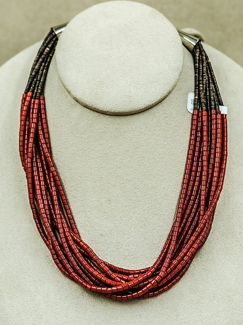 10 Strand Coral and Heishi Necklace by Frank Ortiz