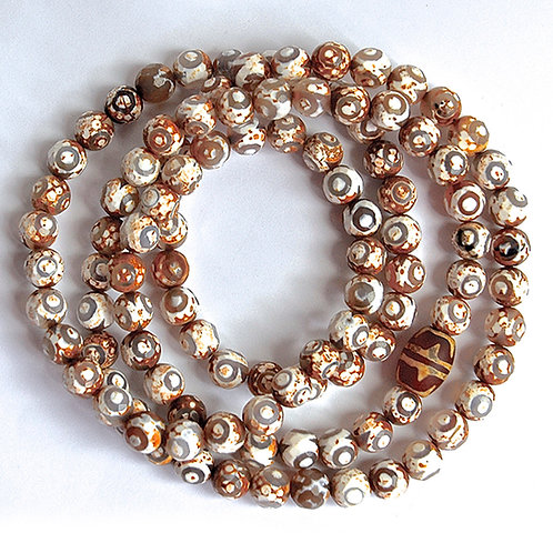 Dzi Brown and White Eye with etched Agate Faceted Bead Mala