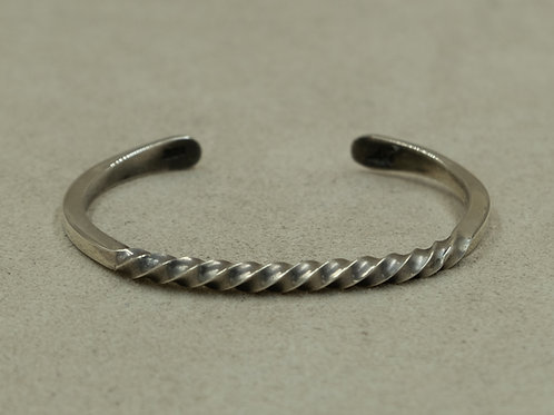 Sterling Silver Hand Forged Twist Cuff by John Rippel