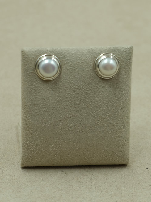 Sterling Silver Round Pearl Stud  Earrings by Sanchi and Filia