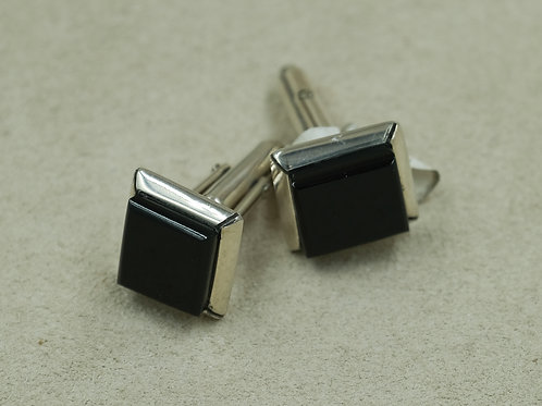 Sterling Silver w/ Black Jade Cufflinks