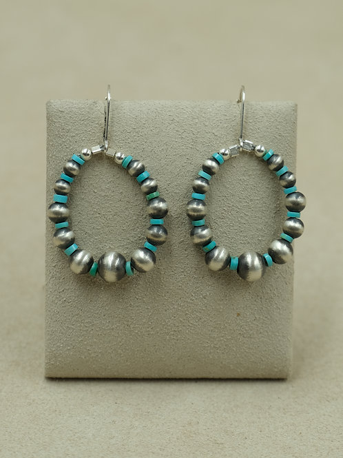Sterling Silver Oxidized Turquoise Hoop Earrings by Maggie Moser