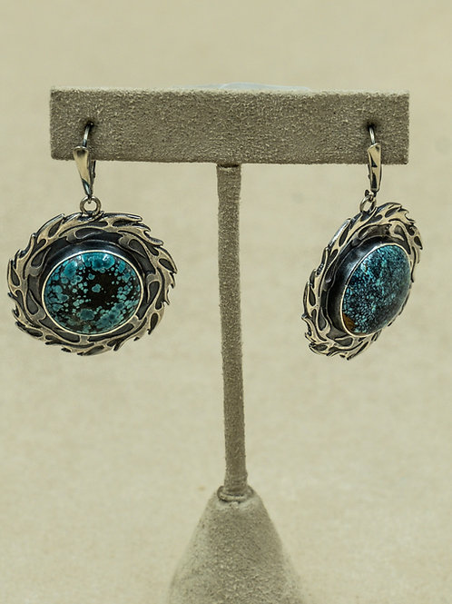 Sterling Silver w/ Flame Motif & Chinese Turquoise Earrings by Michele McMillan