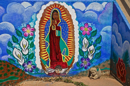 Our Lady of Guadalupe  —  Painted on a wall at the dead end of a street