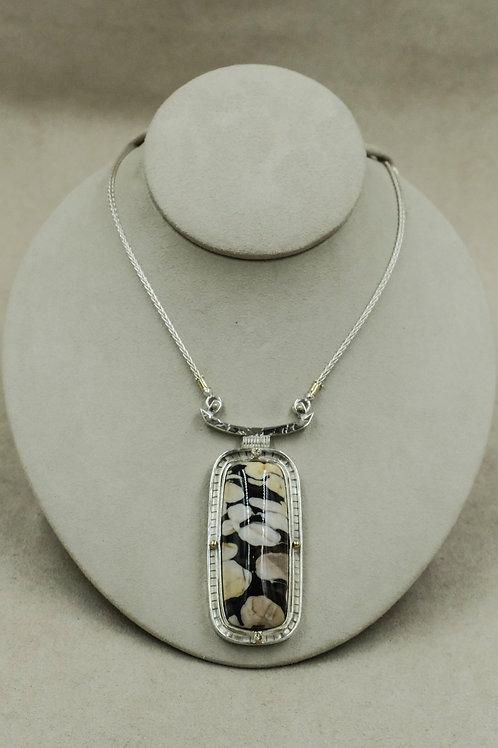 18k, SS & Petrified Peanut Wood Necklace w/Champagne Diamonds by Dave M Romero