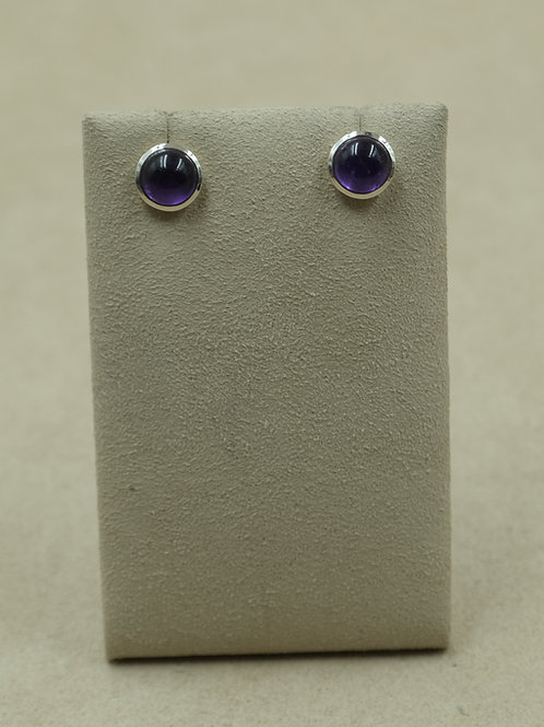 Sterling Silver 9mm Amethyst Stud  Earrings by Sanchi and Filia