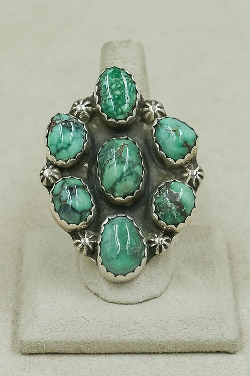 7-Stone Natural Damale Turquoise Adjustable S.S. Ring by James Saunders